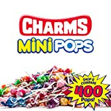 Charms Mini Pops 18 AssortedLollipopFlavors with ResealableTrick or Treat HalloweenCandy Bag (400 Count)Peanut Free, Gluten Free