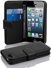 Cadorabo Hülle für Apple iPhone 5 / iPhone 5S / iPhone SE - Hülle in Oxid SCHWARZ – Handyhülle mit Kartenfach aus struktriertem Kunstleder - Case Cover Schutzhülle Etui Tasche Book Klapp Style