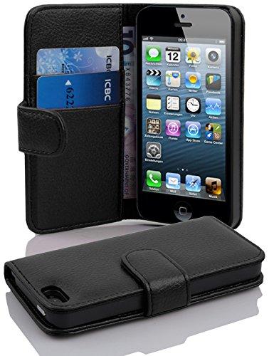 Cadorabo Funda Libro para Apple iPhone 5 / iPhone 5S / iPhone SE en Negro ÓXIDO - Cubierta Proteccíon de Cuero Sintético Estructurado con Tarjetero y Función de Suporte - Etui Case Cover Carcasa