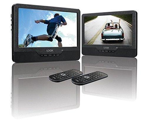 9 Zoll Twin-Bildschirm, tragbarer Dual DVD-Player, aufladbar, in Autos, Fernbedienung, USB