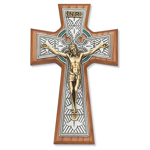 8 Inch Walnut Celtic Crucifix Tutone Christian Catholic Cross Home Religious Wall D?cor