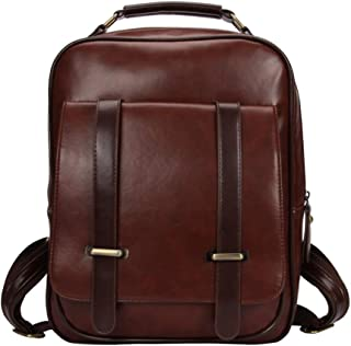 Fashion PU Leather Backpack Purse Satchel School Bags Casual Large Capacity Travel Daypacks for Womens (Color : Brown, Size : 27 * 9 * 35cm)