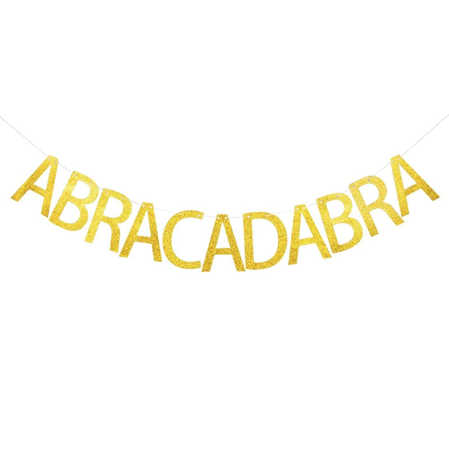 Abracadabra Banner, Gold Gliter Paper Sign Decors for Magical Themed Party
