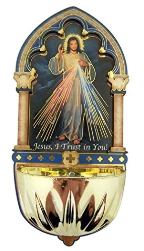 Religious Gifts Divine Mercy Gold Embossed Laser Cut Wood Multi-Dimensional Holy Water Font, 5 Inch