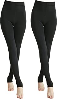 Eabern 2 Pairs Women Winter Thick Warm Fleece Lined Thermal Stretchy Pantyhose Tights