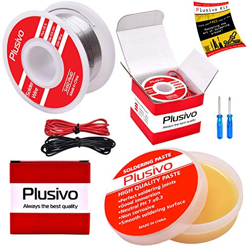Solder Wire and Rosin Paste Flux Kit - 60-40 Tin Lead Rosin Core Solder Wire (0.6mm, 50g) and Rosin Paste Flux (50g) for PCB Electrical Soldering and DIY from Plusivo