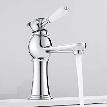 Bath Taps Pair with White Ceramic Lever Handles and Chrome Traditional Design
