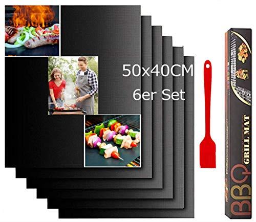 Nifogo Grillmatte für gasgrill 50x40 6er Set,BBQ Grillmatte,Grillmatte für den BBQ,Grillmatten Set,Teflon Antihaft Wiederverwendbar,Antihaft Feuerfeste Backmatte für Gasgrill und Holzkohlegrill