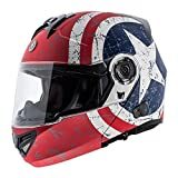 TORC Unisex-Adult Style Full Face Modular Motorcycle Helmet Integrated Blinc Bluetooth with Graphic (Rebel Star) (Flat White, Large)