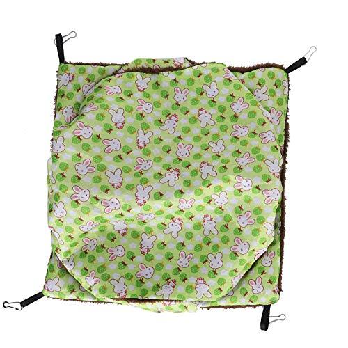 FOLOSAFENAR Hamaca de Jaula para Mascotas pequeña Saco de Siesta de Conejillos de Indias para Dormir(Green, Large)