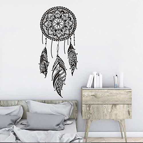 Atrapasueños Vinilo Adhesivo de pared Patrón indio Decorado Dormitorio Mandala Bohemia Vinilo Tatuajes de pared Dream Feather Decoración para el hogar Mural A9 42x98cm