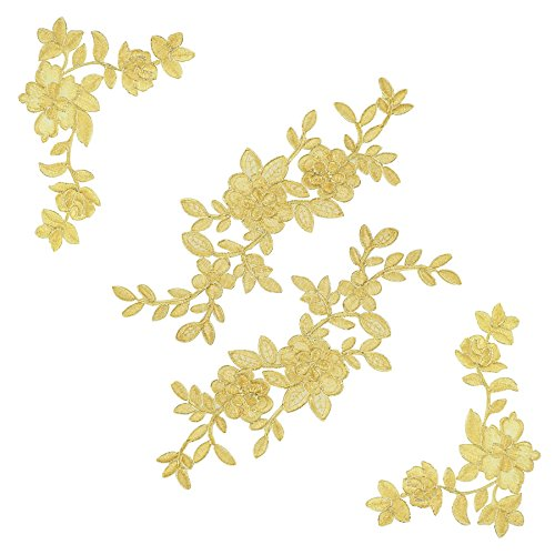 2 Pairs Gold Flower Leaves Lace DIY Appliques, Wedding Appliques, Embroidered Appliques Patches