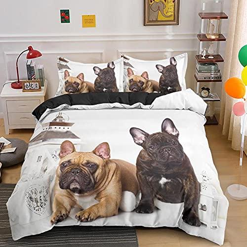 CQIIKJ 3D Bedding Set Bulldog Animale Bianco Marrone Kaki Copripiumino in Microfibre Ipoallergenico 140x200cm Copripiumino con Chiusura a Cerniera