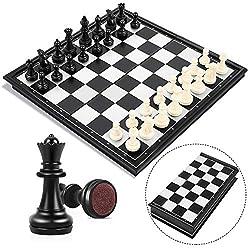 Confezione portatile: 25,5 * 4,5 *13cm. Materiale: Plastica dura ABS. Scacchiera magnetica pieghevole completa dei pezzi degli scacchi. La calamita trattiene i pezzi sul piano di gioco e impedisce la caduta. Molto comodo per memorizzare tutti i pezzi...
