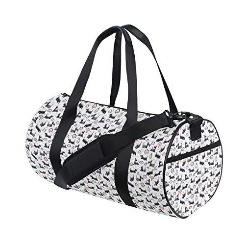 ZOMOY Sporttasche,Handgezeichnete skizzierte gekritzelte Scotch Rassen Spielen,Neue Bedruckte Eimer Sporttasche Fitness Taschen Reisetasche Gepäck Leinwand Handtasche
