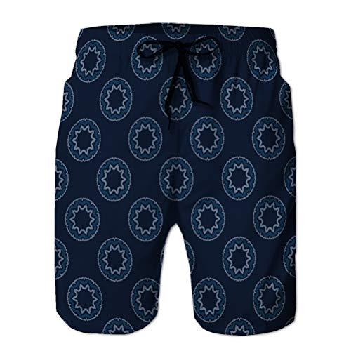 Xunulyn Shorts de Playa para Nadar de Secado rpido para Hombre, crculos de Sol Azul ndigo Abstractos sin Costuras