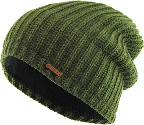 %55 OFF! Olive Slouch Baggy Beanie Fleece Lined Unisex Ski Hat Knit Winter