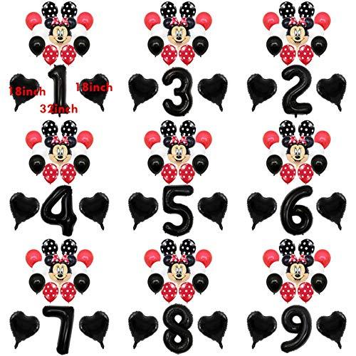 SELLA 1 Juego de Globos de Mickey Minnie Mouse Set de Dibujos Animados Globos de Papel de número Global de 32 Pulgadas Baby Shower Kids Birthday Decor Balloon Helium, 14 Piezas Black Minnie, 2