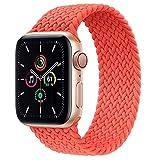 Leishouer Braided Solo Loop Cinturino compatibile con Apple Watch 40/38 mm 44/42 mm, cinturino di ricambio elastico per iWatch Serie 6 5 4 3 SE Strap (42 mm/44 mm-M, arancione elettronico)