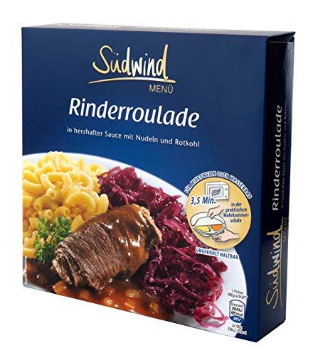 Herzhafte Rinderroulade in kräftiger Sauce mit Nudeln und Rotkohl – Fertiggerichte für die Mikrowelle / Wasserbad - Südwind Lebensmittel