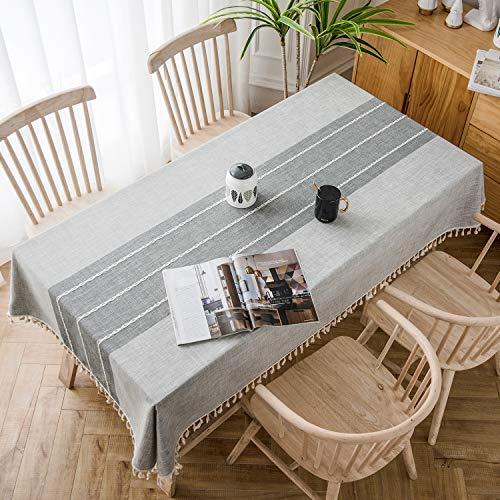 Soledi Splijtvaste tafelkleed, tafelkleed van katoen en linnen, decoratief stofdicht tafelkleed, meervoudig bruikbaar, geschikt voor eettafel, salontafel, vierkante tafel en ronde tafel