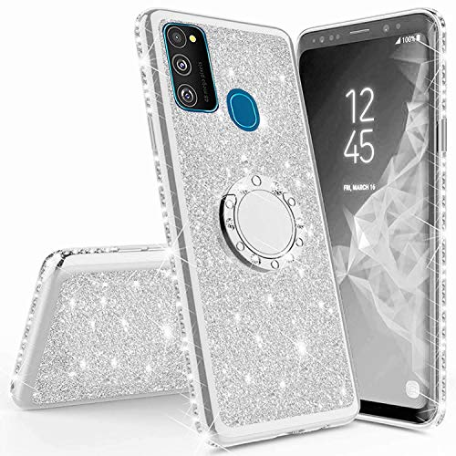 Miagon Hülle Glitzer für Samsung Galaxy M21,Glänzend Mädchen Frauen Weich Silikon Handyhülle mit Strass Diamant 360 Grad Ständer Schutzhülle Etui Cover