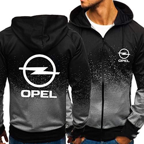 YANDING Sudadera con Capucha Opel, Jersey de impresión 3D, Chaqueta con Bolsillo con Cremallera, Sudadera de Primavera y otoño para Hombre, Regalo B-Large