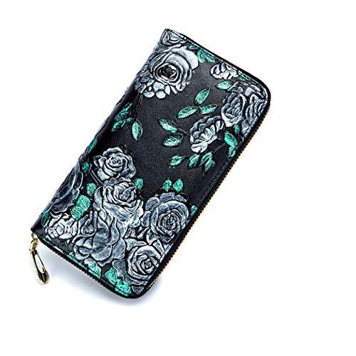 Lange Echtleder Geldbörsen für Frauen Mädchen Lange 3D Stereo Echtleder Geldbörsen 8 Kartenfächer, 2 Geldscheinfächer, 2 Brieftaschen, 1 Reißverschlussfach und 1 Tasche für Handy Silber