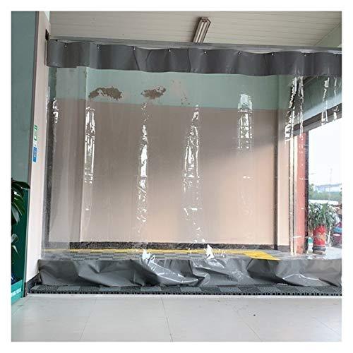 YJFENG Cortina De Puerta Impermeable, Lona Transparente, Panel Lateral De La Tienda, Lona Revestida Gris con Costuras De PVC De 0,5 Mm, Aislamiento Térmico A Prueba De Viento, para Balcón, Garaje