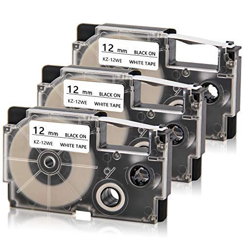 """Absonic Compatible Label Tape Replacement for Casio XR-12WE XR-12WE2S Label Cartridge for KL-60 KL-100 KL-120 KL-750 KL-780 KL-820 KL-7000 KL-7200 EZ-Label Printer, 1/2"""" x 26', Black on White, 3-Pack"""