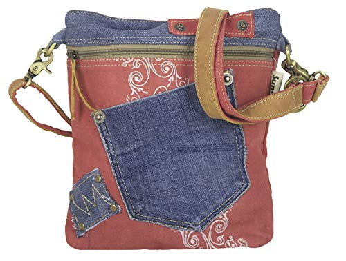 Sunsa Damen Tasche Umhängetasche Handtasche klein Canvas bag mit Jeans und Leder Vintage Design Teenager Taschen praktische Geschenke Bags for Women Schultertasche Damentaschen sale rot blau