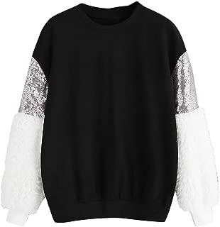 Tefamore Camisa Mujer Cuello Redondo Manga Larga Suelto Blusa Tops Lentejuela Empalme Blus/ón Casual Shirt Pullover
