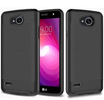 LG X Power 2 Case LG X Charge Case LG Fiesta Case LG Fiesta 2 Case JATEM Brushed Metal Hybrid Slim Fit Hard Cover with TPU Case + Tempered Glass Screen Protector  Black/Black