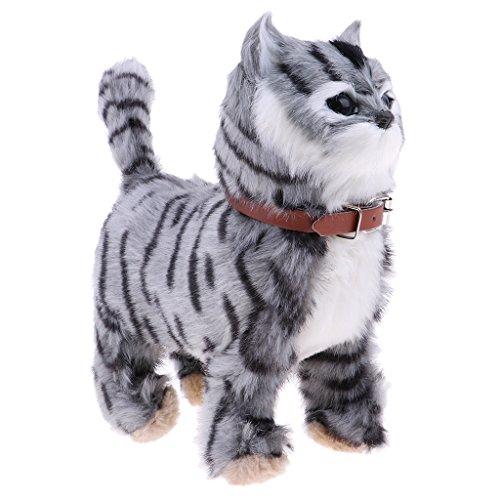 SM SunniMix Gehen Miauen Katze Tiere Kuscheltier Plüschtier Spielzeug für Kinder Haustier - Grau