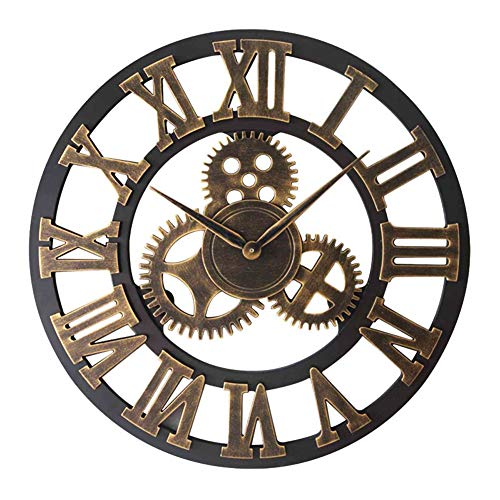 CQ Reloj De Pared Engranaje Decorativo Grande Europeo De Lujo 3D Reloj De Pared De Madera Regalo De La Decoración,80cm