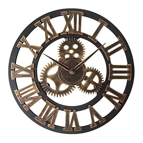 CQ Reloj De Pared Engranaje Decorativo Grande Europeo 3D Reloj De Pared De Madera Regalo De La Decoración,80cm