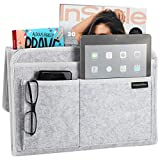 HomeCentralShop Bedside Caddy Hanging Organizer - Eco Friendly & Extra Storage Perfect for Dorm, Mattress, Bunk, Cabinet, Couch, Night Stand & Shelf - Large Size 9.5 x 13.5 inches, Grey