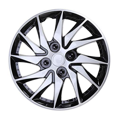 CLISPEED Tapacubos Cubiertas de Rueda Tapas de Cubo de 14 Pulgadas Ruedas Cubierta de Llanta para Coche Auto Vehículo Partes de Neumáticos Accesorios de Repuesto Plata Negro