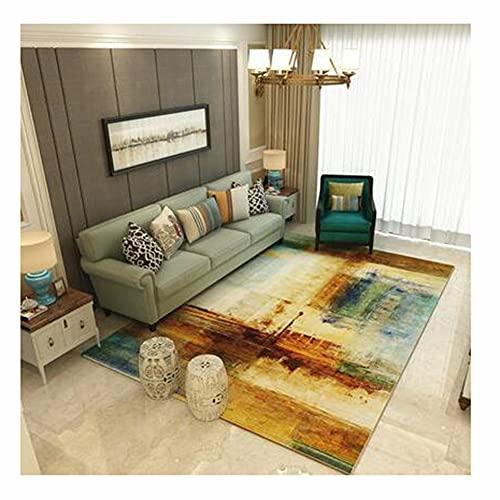 Calorías alfombra París geometría abstracto patrón alfombra habitación vestuario Alfombra de área suave Alfombrilla de pelo corto Antideslizante Tapetes para mesa de café (Size:120x160cm,Color:15)