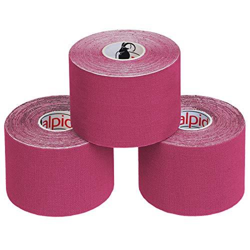 BB Sport 3 Rollen Kinesiologie Tape 5 cm x 5 m E-Book Anwendungsbroschüre Elastisches Tape Set, Farbe:pink