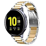 Shangpule Compatible for Galaxy Watch Active 2 40mm / 44mm Bands, Galaxy Watch 3 41mm Band, 20mm Stainless Steel Strap Compatible for Samsung Galaxy Active 2 (Silver + Gold)