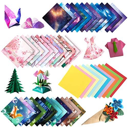 ZXT Carta per Origami Double Face,Night Sky per Bambini,250 Fogli,15x15cm,Quadrata,Decorazione per Progetti Artistici E Artigianali,Carta per Origami Fai da Te,Carta Pieghevole Double-Face (15x15)