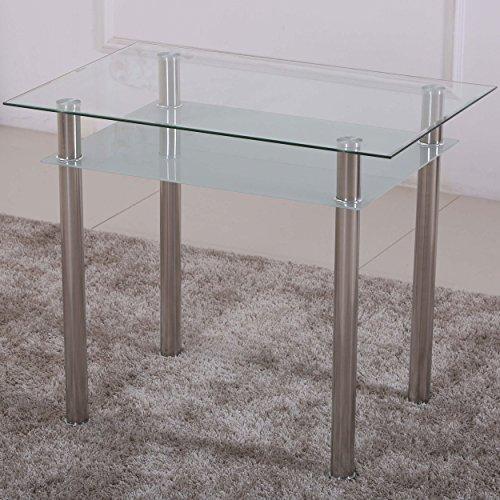 Esstisch Glas mit 6mm Sicherheitsglas & Facettenschliff - Glastisch perfekt geeignet als Esszimmertisch/Küchentisch (90x60x75cm, satiniert)