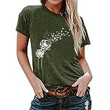 Camiseta de Verano para Mujer Diente de león Imprimir Cuello Redondo,Camisas Deportivas Casuales de Manga Corta Tallas Grandes Blusa Tops Túnica Holgada 2021