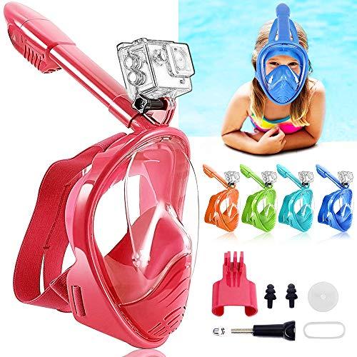 HINATAA Máscara de Buceo para Niños, 180 °Máscara de Snorkel de Cara Completa Infantil, Anti-vaho Anti-Fuga Máscara de Gafas Compatible con GoPro, Adecuado para Niños de 4 a 12 Años (Rojo)