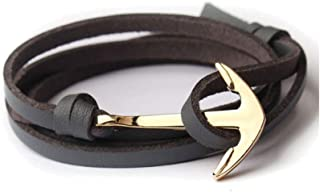 SEVEN50 Black Flat Anchor Hook Bracelet in Leather for Men - Durable Wristband with Anchor