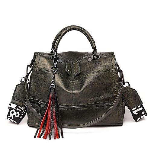 XZJY Mode Quaste Frauen Handtasche Leder Frauen Umhängetaschen Designer Damen Taschen Damen Lässige Umhängetaschen-Grün