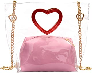Wultia - Fashion Transparent Love Wilds Shoulder Bags Clutch Bag Women Messenger Bags Handbag Chain Bag Shoulder Luxury7.51#M08 Pink