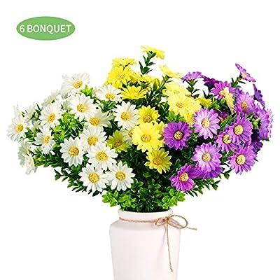6 Bundles Daisies Artificial Flowers, Outdoor Fake Silk Flowers for Decoration, UV Resistant Faux Plastic Plants for Hanging Planter Garden Porch Window Box Décor(Multi-Color)