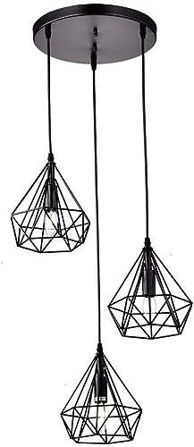 LS Creative Rétro 3 Têtes Fil Cage Luminaire Lustres Vintage Lampe pendentif en Métal avec Finition Peinte pour Salle à Manger Cuisine